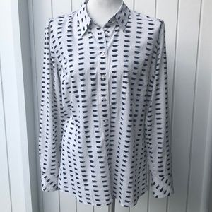 GAP tea coffee cup fitted boyfriend blouse EUC top